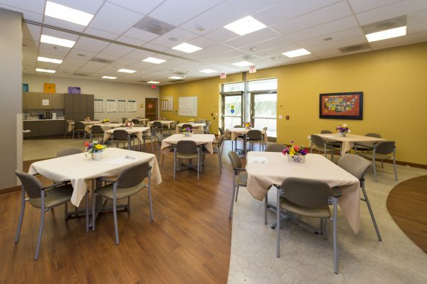 The PACE Center's day room and dining area