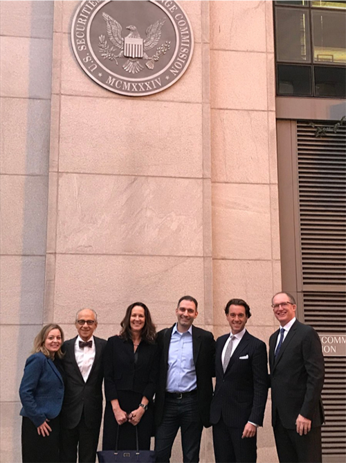 ACG members at the SEC. From left: Maria Wolvin, Richard Jaffe, Gretchen Perkins, Joshua Cherry-Seto, Martin Okner and Pat Morris