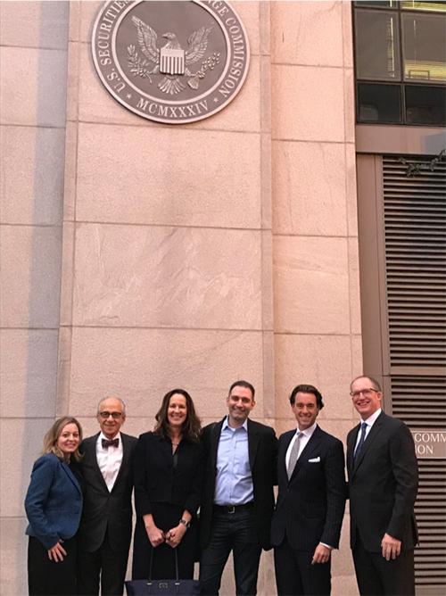 ACG members at the SEC. From left: Maria Wolvin, Richard Jaffe, Gretchen Perkins, Joshua Cherry-Seto, Martin Okner and Pat Morris